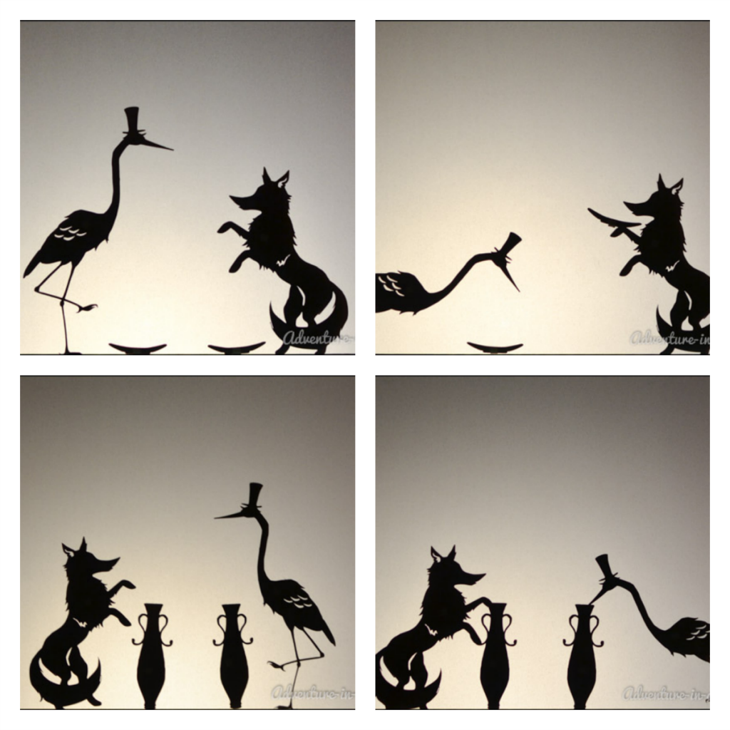 1024x1024 The Fox And The Crane Shadow Puppets With Printables