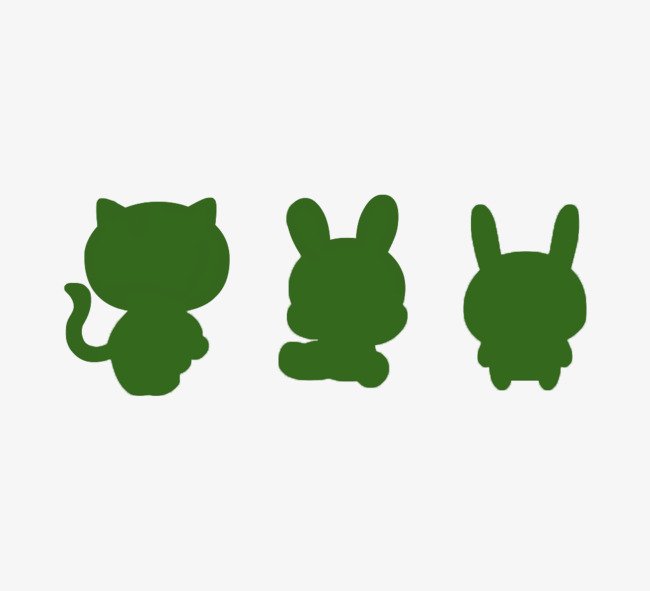 650x591 Cats And Rabbits Green Silhouette Material, Kitty, Green Rabbit