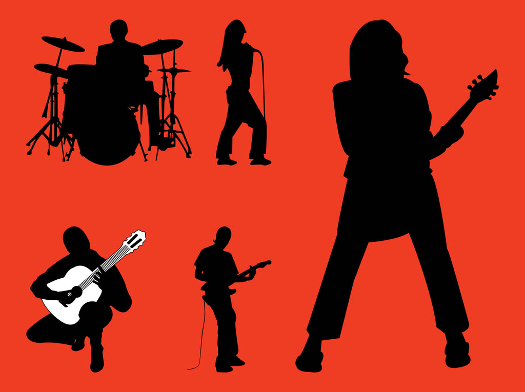 1024x765 Rock Band Silhouettes Graphics Vector Art Amp Graphics