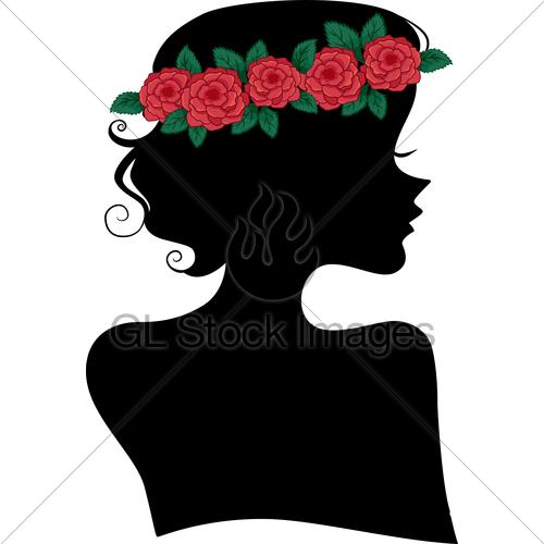 500x500 Rose Headband Girl Silhouette Gl Stock Images
