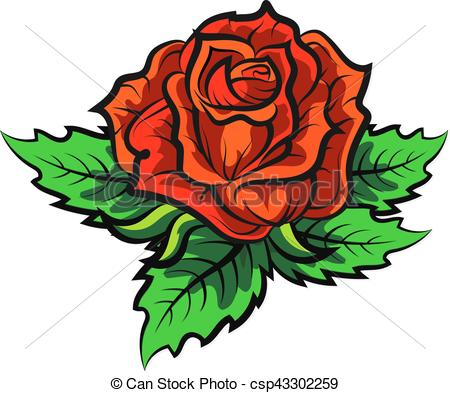 450x393 Rose Silhouette Vector. Red Rose With Green Leaves Clipart