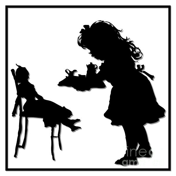 600x600 Tea Party Dolly Silhouette Yoga Mat For Sale By Rose Santuci Sofranko