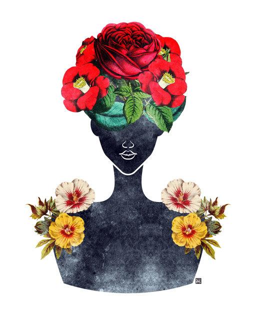 512x640 Flower Natural Hair Silhouette Art Print 0003 Rose