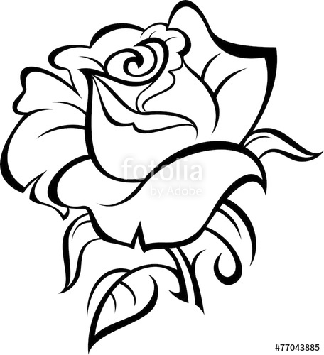 456x500 Rose Silhouette With Leaves. Vector Illustration. Stock Image