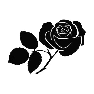 310x310 Rose With Toothed Leaves Silhouette Plants Decals, Decal Sticker