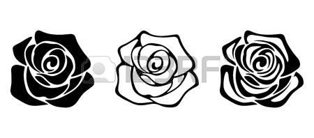 450x198 Silueta Flores Conjunto De Tres Vector Siluetas Negras De Flores