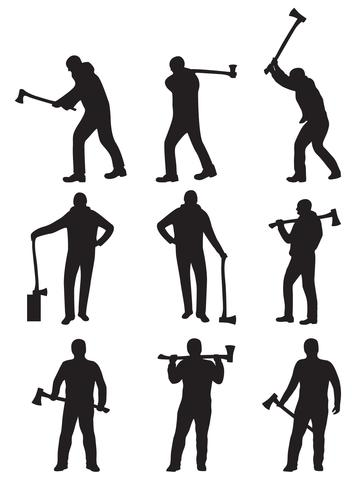 361x490 Woodcutter Silhouette Vectors