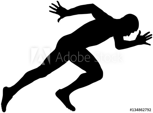 500x369 Muscular Sprinter Runner Explosive Start And Run Black Silhouette