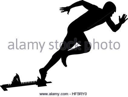 423x320 Black Silhouette Explosive Start Athlete Sprinter Runner