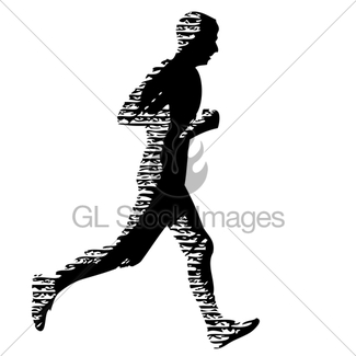 325x325 Black Silhouettes Runners Sprint Men On White Background Gl