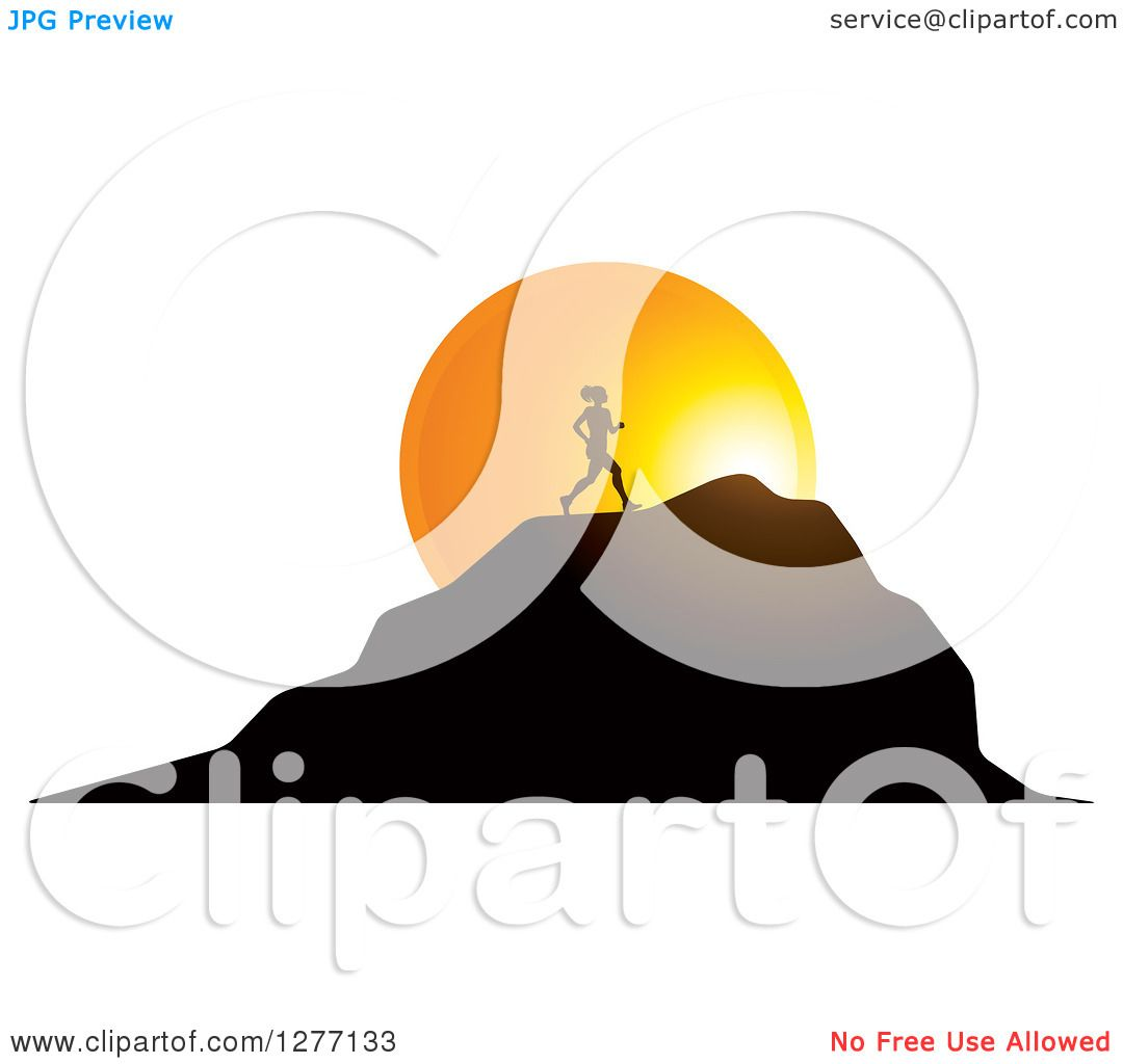 1080x1024 Clipart Of A Silhouetted Woman Running Up A Mountain Over A Sunset