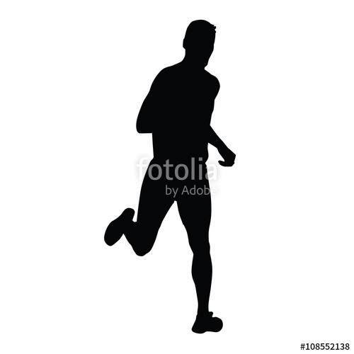 500x500 Vector Runner, Running Man Silhouette. Run, Sport, Active Boy