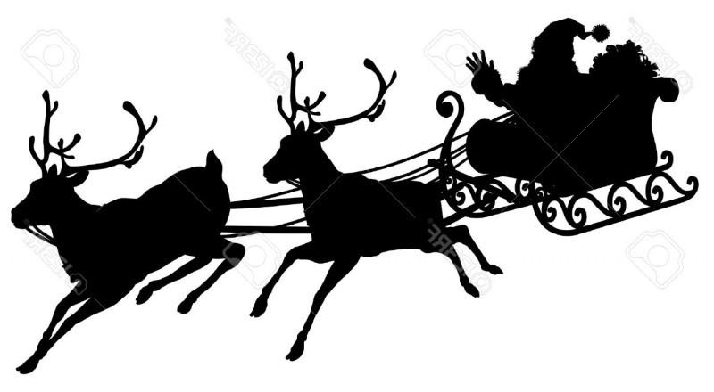 Silhouette Santa Sleigh Reindeer