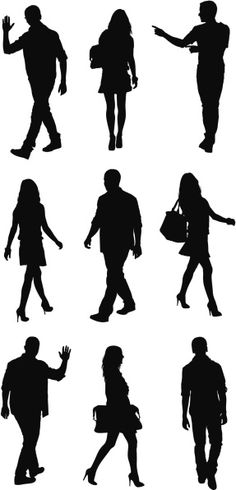 236x490 Free Vector Silhouettes Of People Standing, Sitting, Walking