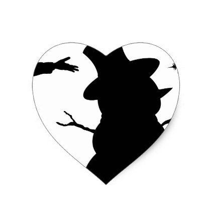 422x422 Kids Making Snowman Christmas Silhouette Scene Heart Sticker