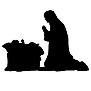 300x300 Manger Scene Nativity Silhouette Unmounted Rubber Stamp, Mary