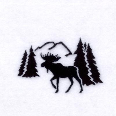400x400 Moose Silhouette Scene Embroidery Design Annthegran