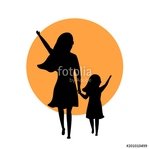 500x500 Mother And Daughter Walking Together Silhouette Back Side View