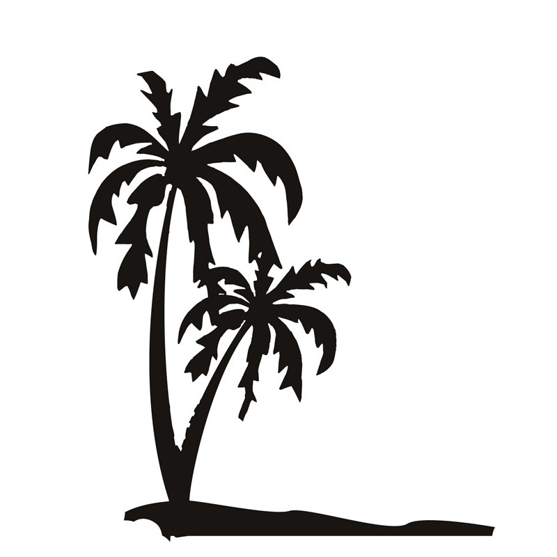 800x800 Top Selling Pvc Waterproof Seaside Palm Tree Wall Decal Black