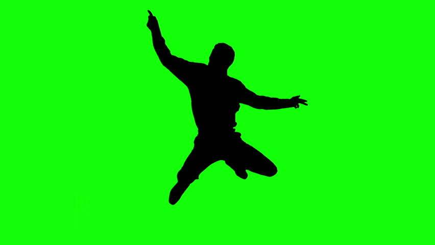 852x480 Silhouette Of Man Jumping And Giving Thumb Up On Green Screen