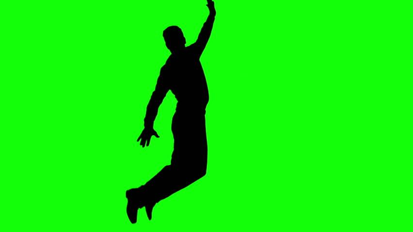 852x480 Female Jazz Dancer Silhouette On Chroma Key Green Background With