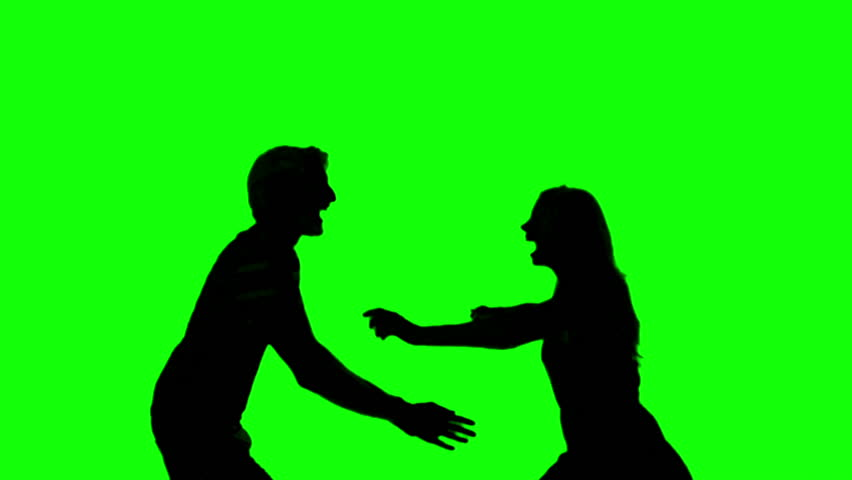 852x480 Silhouette Of Couple Jumping And Raising Arms On Green Screen In