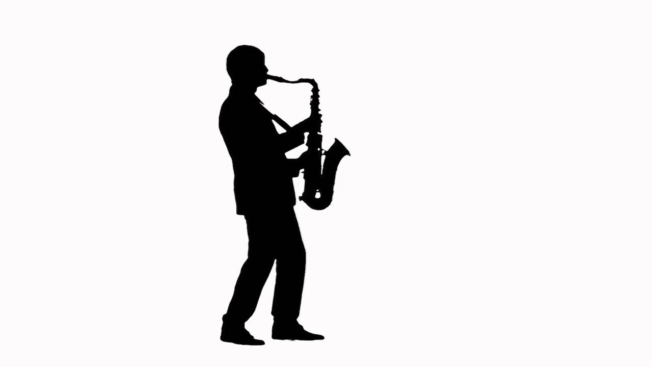 1280x720 Video footage Saxophonist silhouette, appearance on the stage