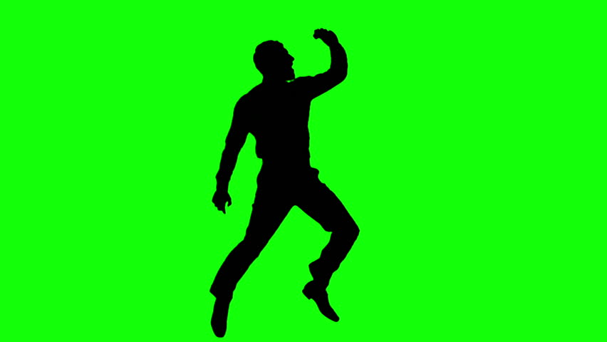 852x480 A Woman's Silhouette Dancing Against Green Background Stock