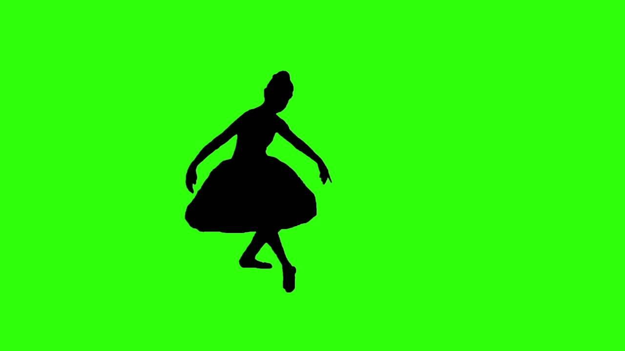 1280x720 Ballet dancer silhouette green screen effect free