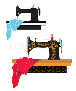 265x320 Sewing Machine Isolated On White Stock Vector Colourbox