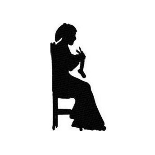 500x500 Woman Sewing Silhouette Machine Embroidery Design