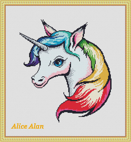 450x488 Cross Stitch Pattern Silhouette Unicorn Head Rainbow Fantasy