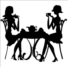 283x281 Girls Tea Time Silhouette Pdf Cross Stitch Pattern Tea Time