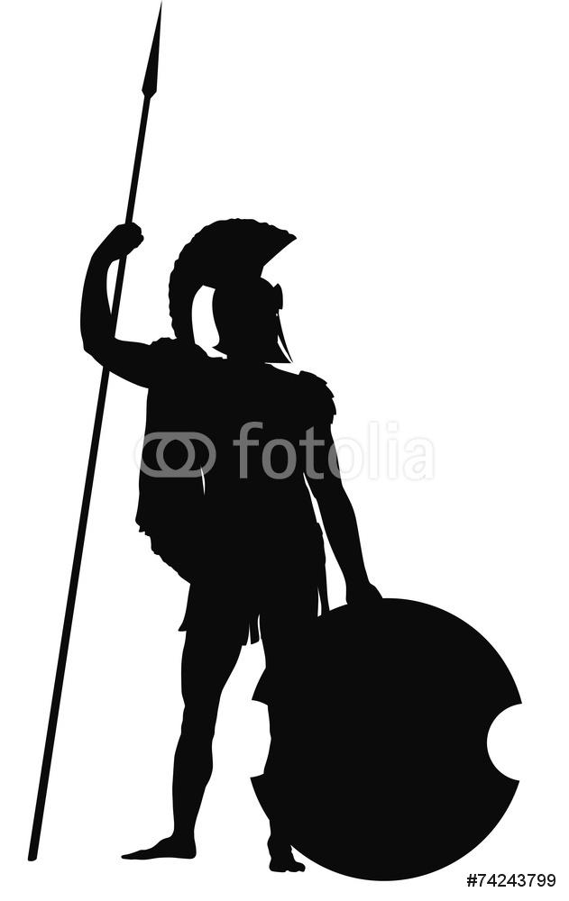 631x1000 Spartan Warrior Shield And Spear Silhouette Wall Sticker Wall