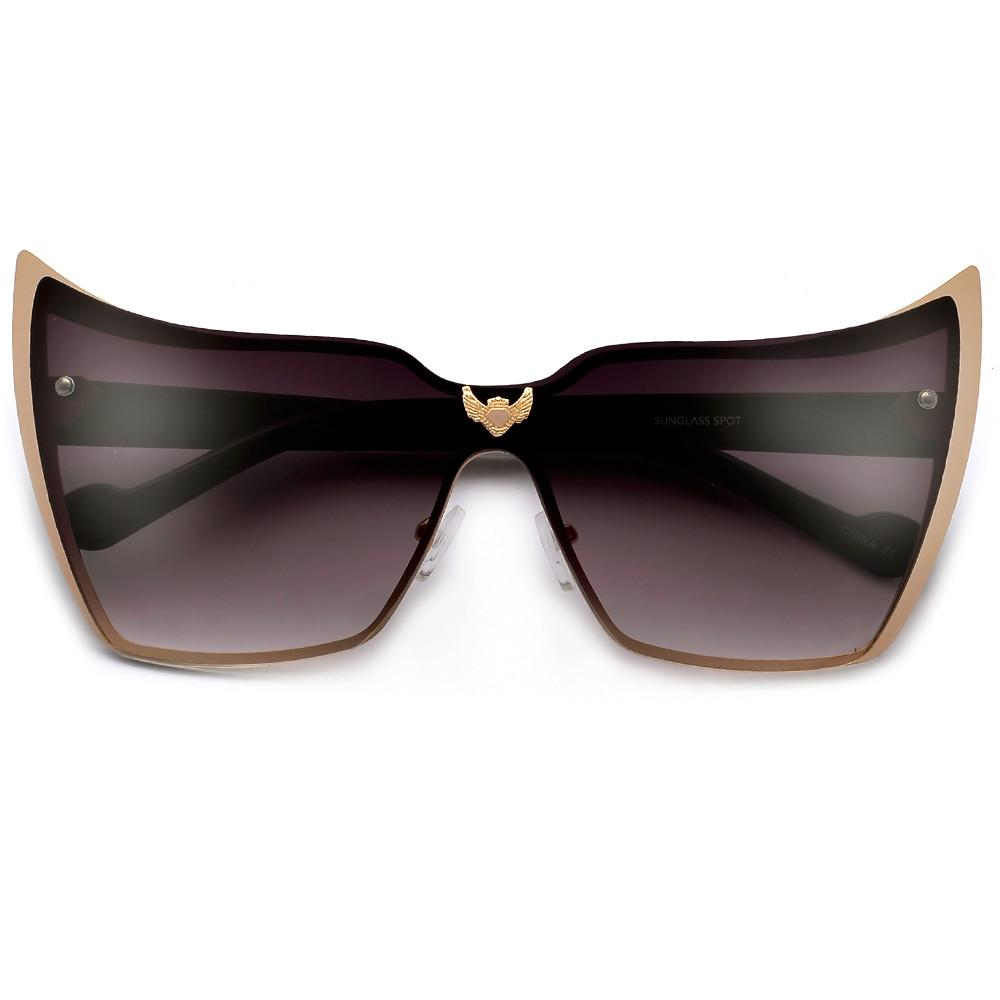 1000x1000 Super High Tip Metal Outlined Cat Eye Silhouette Shield Sunnies