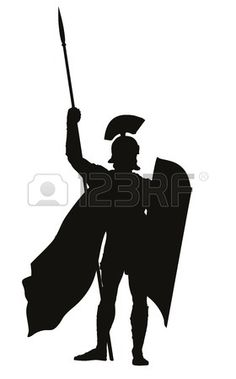 236x379 Vector Roman Warrior With Shield And Spear Vector Silhouette. Eps