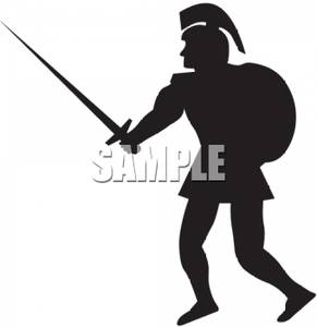 291x300 Of A Roman Soldier Holding A Sword And Shield