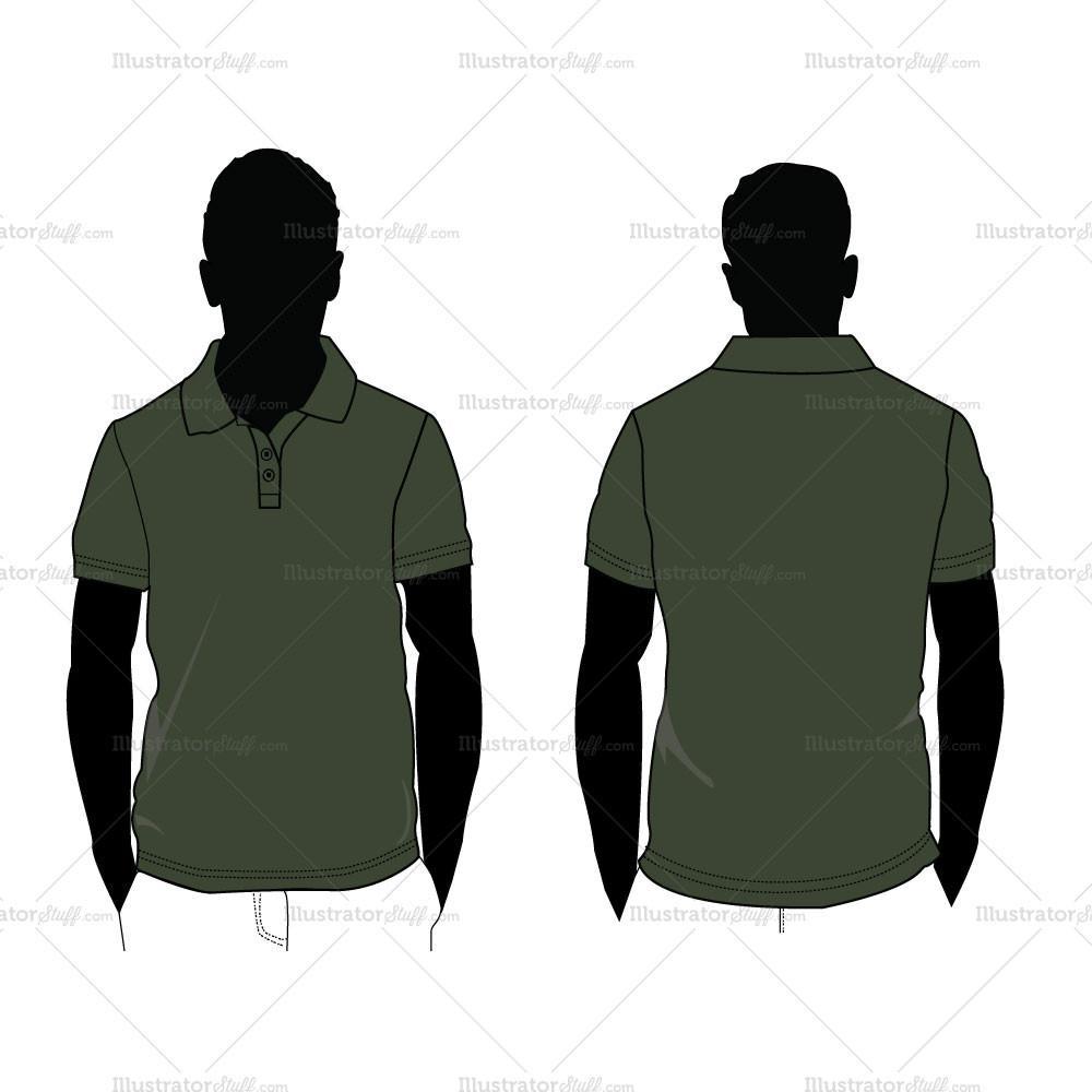 1000x1000 Men's Polo Shirt Silhouette Fashion Flat Template Illustrator Stuff