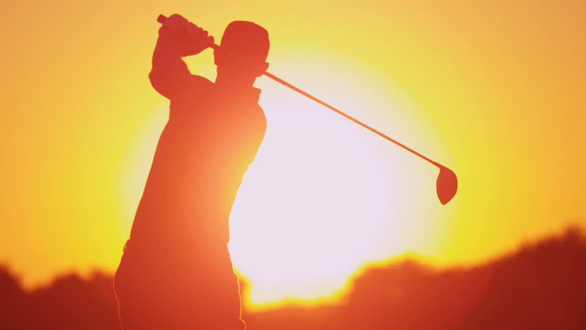 852x480 Male Caucasian Golfer In Sunset Silhouette Enjoying Vacation