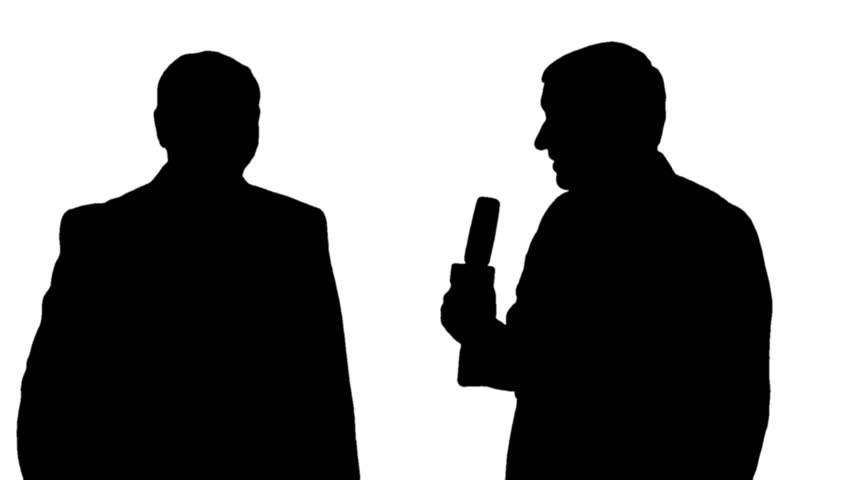 852x480 Silhouettes Of A Girl Reporter Interviewing A Man On Black Amp White