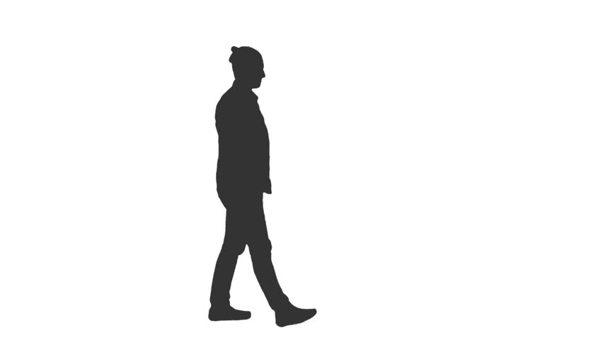 852x480 Black And White Silhouette Of A Young Man Walking In The Street