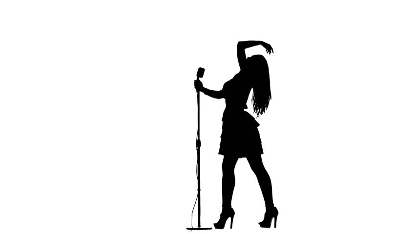 852x480 Singer Performs Songs In A Retro Microphone. Silhouette. White