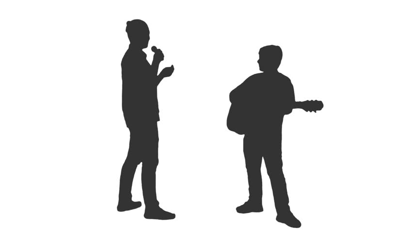 852x480 Silhouette Of Two Teenagers Playing Guitar Amp Singing. Full Hd