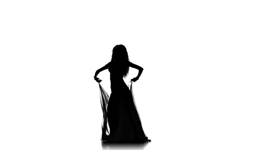 852x480 Black Silhouette Of Singer Vigorously Singing On White Background