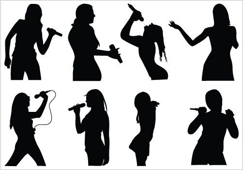 502x351 Girls Singing Silhouette Clip Art Pack Girl Silhouette, Vector