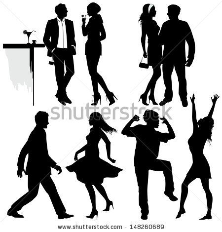 450x470 Several People Are Dancing On The Party, Vector Silhouettes