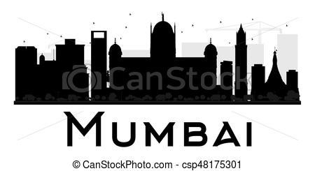 450x245 Mumbai City Skyline Black And White Silhouette. Vector Vector