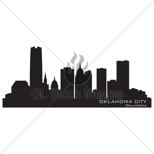 500x500 Oklahoma City Skyline. Detailed Silhouette Gl Stock Images