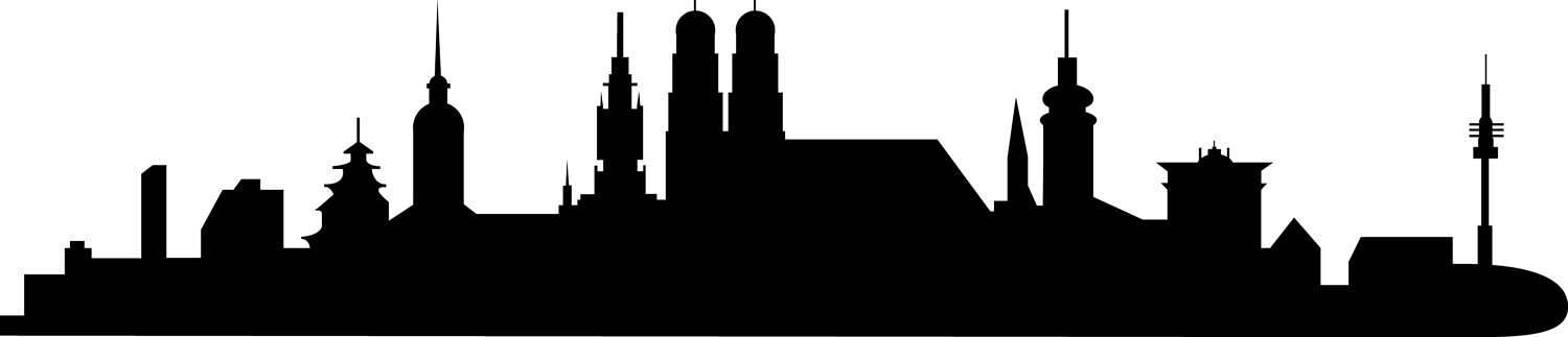 1500x323 City Skyline Munchen Svg Clipart, International City Digital