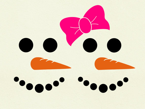 570x427 Snowman Svg Face Svg Clipart Cut Files Silhouette Cameo Svg